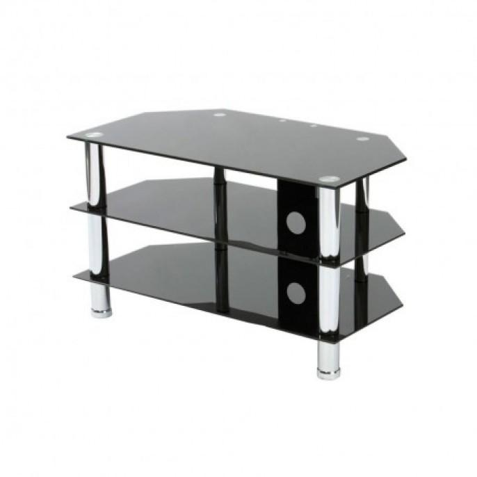 Black Glass 3 Shelf Tv Stand | Poundstretcher Within Recent Glass Tv Stands (Photo 3 of 20)
