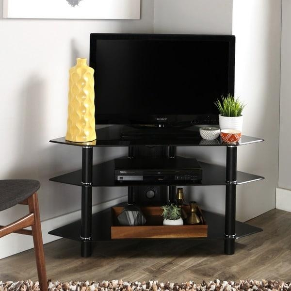 Black Glass Metal 44 Inch Corner Tv Stand – Free Shipping Today Throughout Recent Black Glass Tv Stands (Image 9 of 20)
