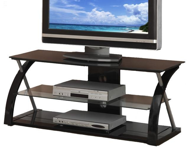 Black Glass Metal Dynamic Entertainment Center – Contemporary Within Current Entertainment Center Tv Stands (Image 5 of 20)