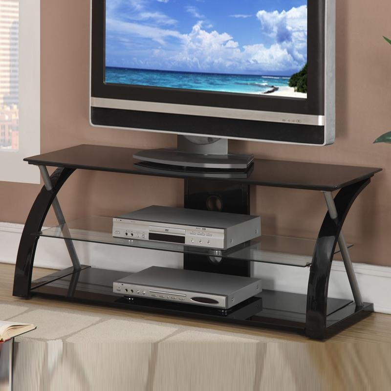 Black Glass Metal Dynamic Tv Stand Entertainment Center Media Pertaining To Most Recently Released Black Glass Tv Stands (Image 10 of 20)