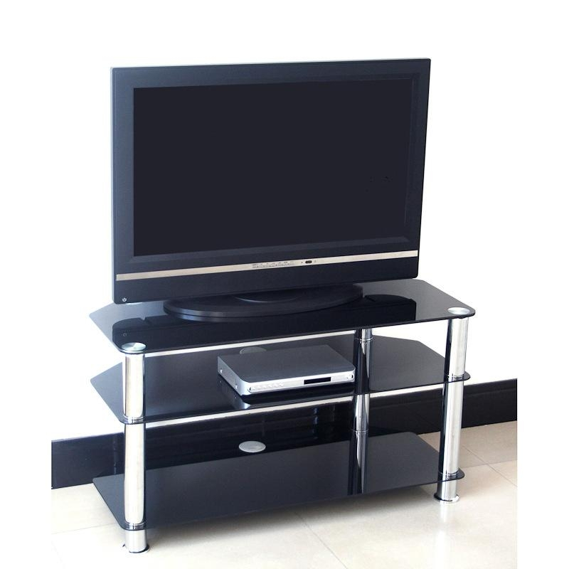 Black Glass Tv Stand 75Cm | Television Stands, Tv Cabinets Intended For Most Popular Glass Tv Cabinets (Image 6 of 20)