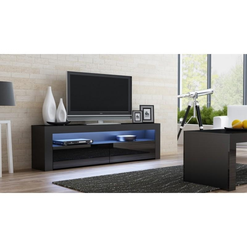 Black Gloss Tv Stand – Milano 157 – Concept Muebles With Most Popular Black Gloss Tv Cabinet (Image 2 of 20)
