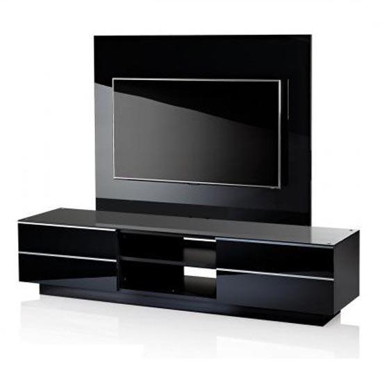 Black Gs 180 Tv Stand With Background Plate 18622 Furniture Intended For Most Recently Released Black Gloss Tv Bench (Image 3 of 20)