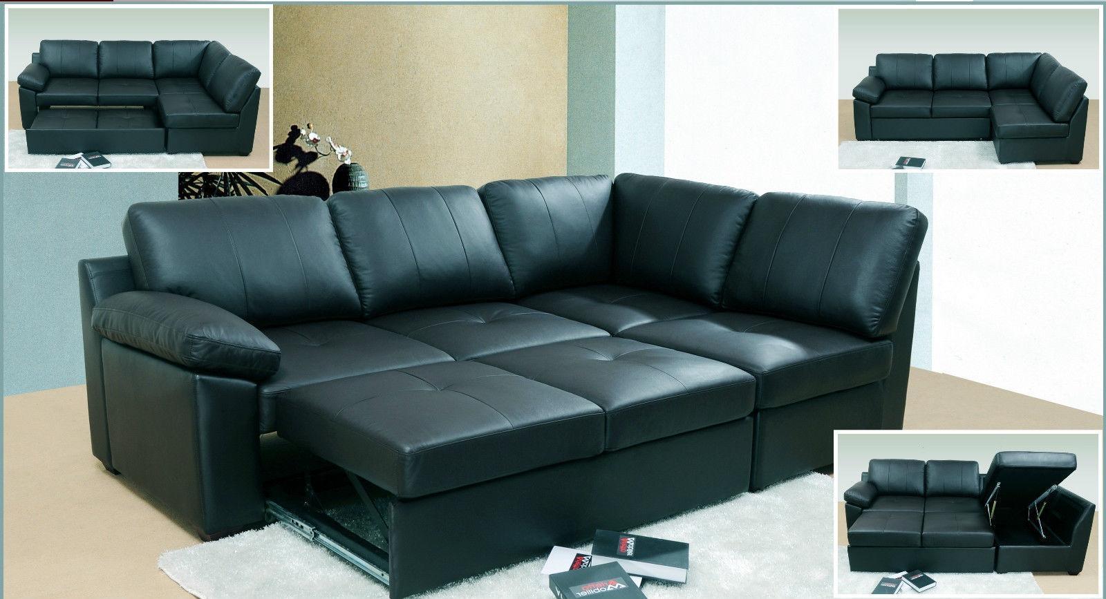Black Leather Corner Sofa Bed With Storage • Leather Sofa Within Leather Storage Sofas (View 15 of 21)