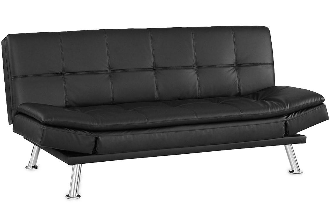 Black Leather Futon Lounger | Niles Serta Euro Lounger | The Futon Intended For Sofa Lounger Beds (Image 2 of 20)