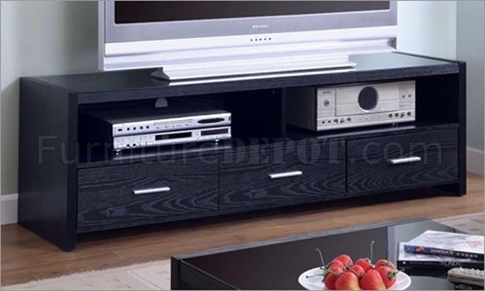 Black Matte Finish Contemporary Tv Stand W/three Drawers Regarding Most Current Black Tv Stands With Drawers (Image 11 of 20)