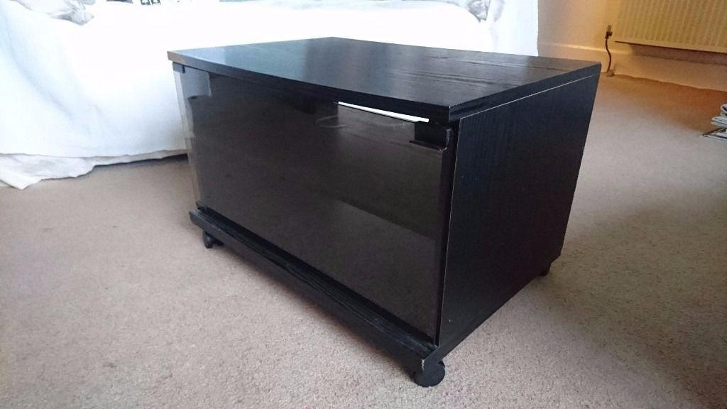 Black Tv Cabinet, Glass Front With Shelf | In Blackhall, Edinburgh With 2017 Glass Fronted Tv Cabinet (View 15 of 20)
