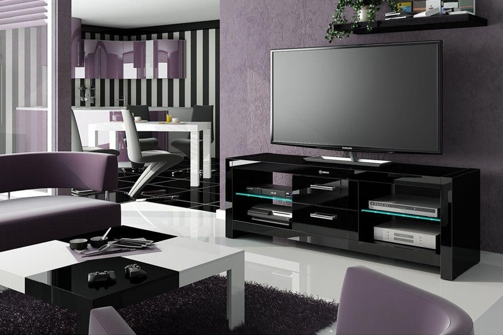 Black Tv Cabinets Uk | Andora Black High Gloss Tv Cabinet In Current High Gloss Tv Cabinets (Image 5 of 20)