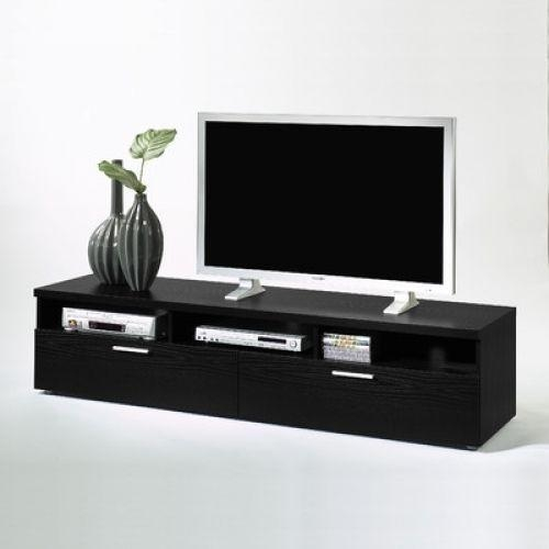 Black Tv Stand Cabinet Drawer Shelf Media Storage Wood Living Room Within Current Black Tv Stands With Drawers (Image 12 of 20)