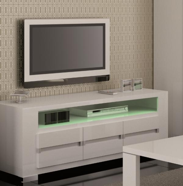 Black Tv Units & Tv Stands | Contemporary Furniture | Trendy Within Recent Cream Gloss Tv Stands (Image 6 of 20)