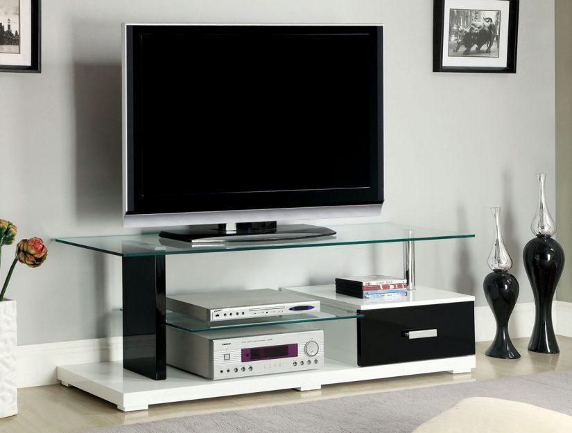 Black & White High Gloss Finish Tv Stand – Caravana Furniture In 2017 Black Gloss Tv Stand (Image 5 of 20)