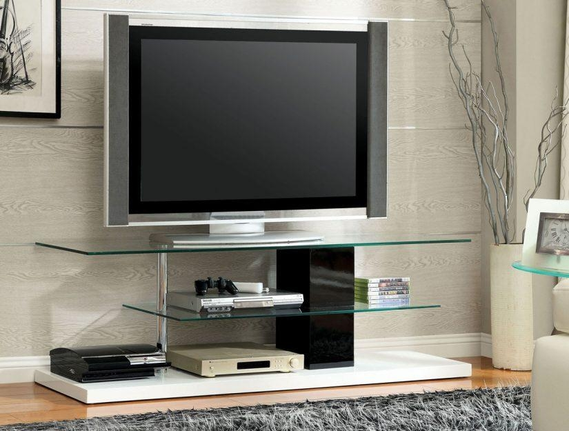 Black & White High Gloss Finish Tv Stand – Caravana Furniture Intended For Most Recent White High Gloss Tv Stands (Image 5 of 20)