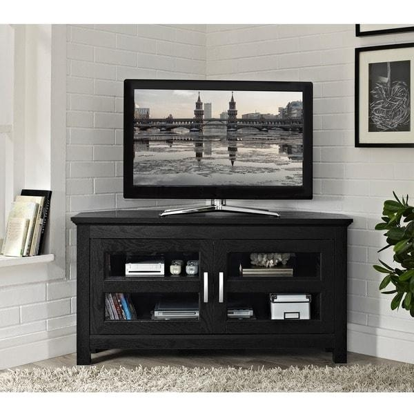 Black Wood 44 Inch Corner Tv Stand – Free Shipping Today Regarding 2017 Solid Wood Corner Tv Cabinets (Image 4 of 20)