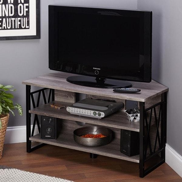 Black Wood Corner Tv Stand Tv Stands Black Corner Solid Wood Tv In Newest Large Corner Tv Stands (Image 8 of 20)