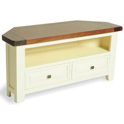 Blitz Cream Painted Acacia Corner Tv Unit – Robson Furniture Intended For Recent Painted Corner Tv Cabinets (Image 2 of 20)