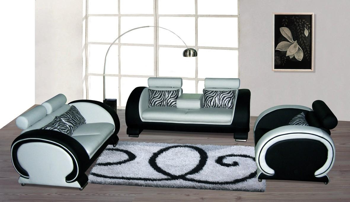 Blossom White And Black Top Graded Real Leather Sofa Best Hd In White And Black Sofas (Image 15 of 21)