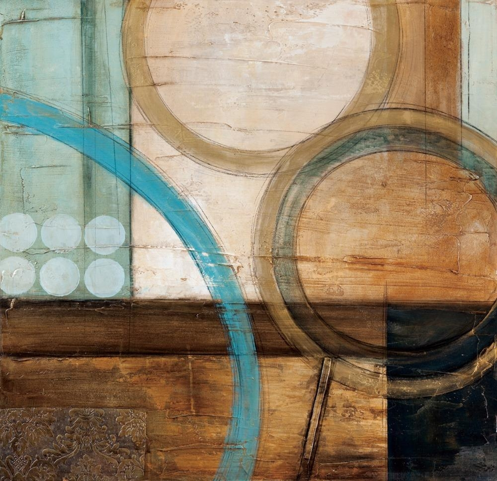 Blue And Brown Circles Modern Abstract Oil Painting Canvas Wall Inside Blue And Brown Wall Art (Image 4 of 20)
