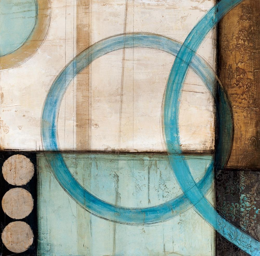 Blue And Brown Circles Modern Abstract Oil Painting Canvas Wall Intended For Brown And Turquoise Wall Art (Image 3 of 20)