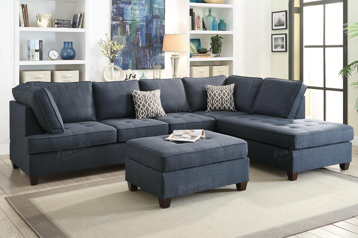 Blue Fabric Sectional Sofa – Steal A Sofa Furniture Outlet Los In Cloth Sectional Sofas (View 13 of 21)