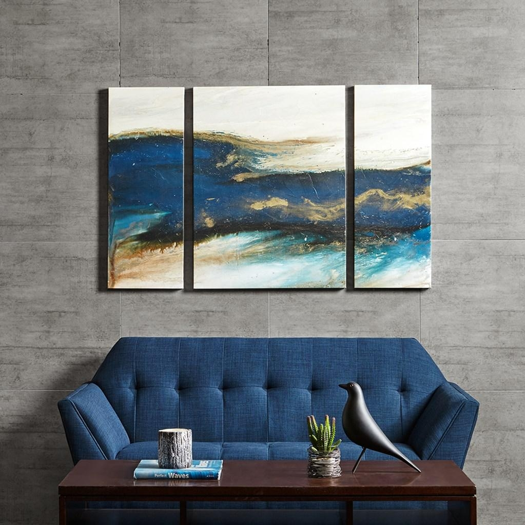 Blue & Gold Brush Stroke Abstract Canvas Wall Art Regarding Wall Art Sets Of (View 15 of 20)