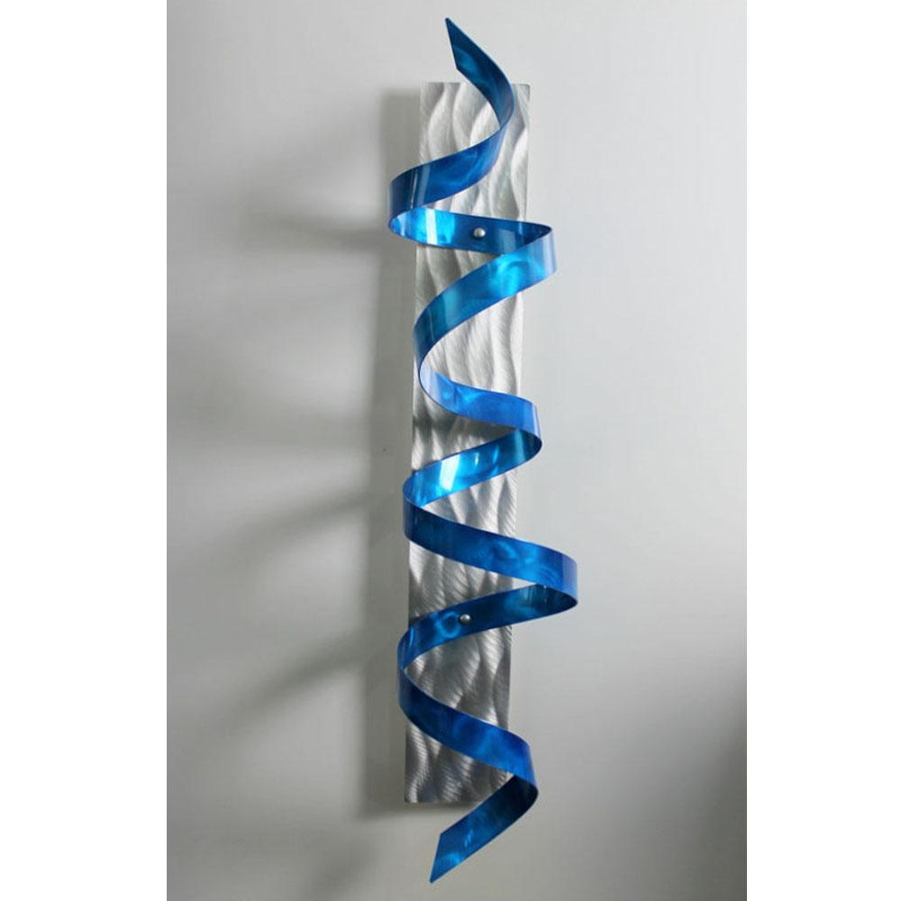 Blue Hurricane – Blue & Silver 3D Metal Wall Art Sculpture Accent Regarding Turquoise Metal Wall Art (View 11 of 20)