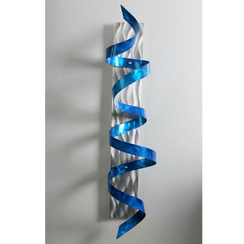 Blue Hurricane – Blue & Silver 3D Metal Wall Art Sculpture Accent Regarding Turquoise Metal Wall Art (Image 4 of 20)