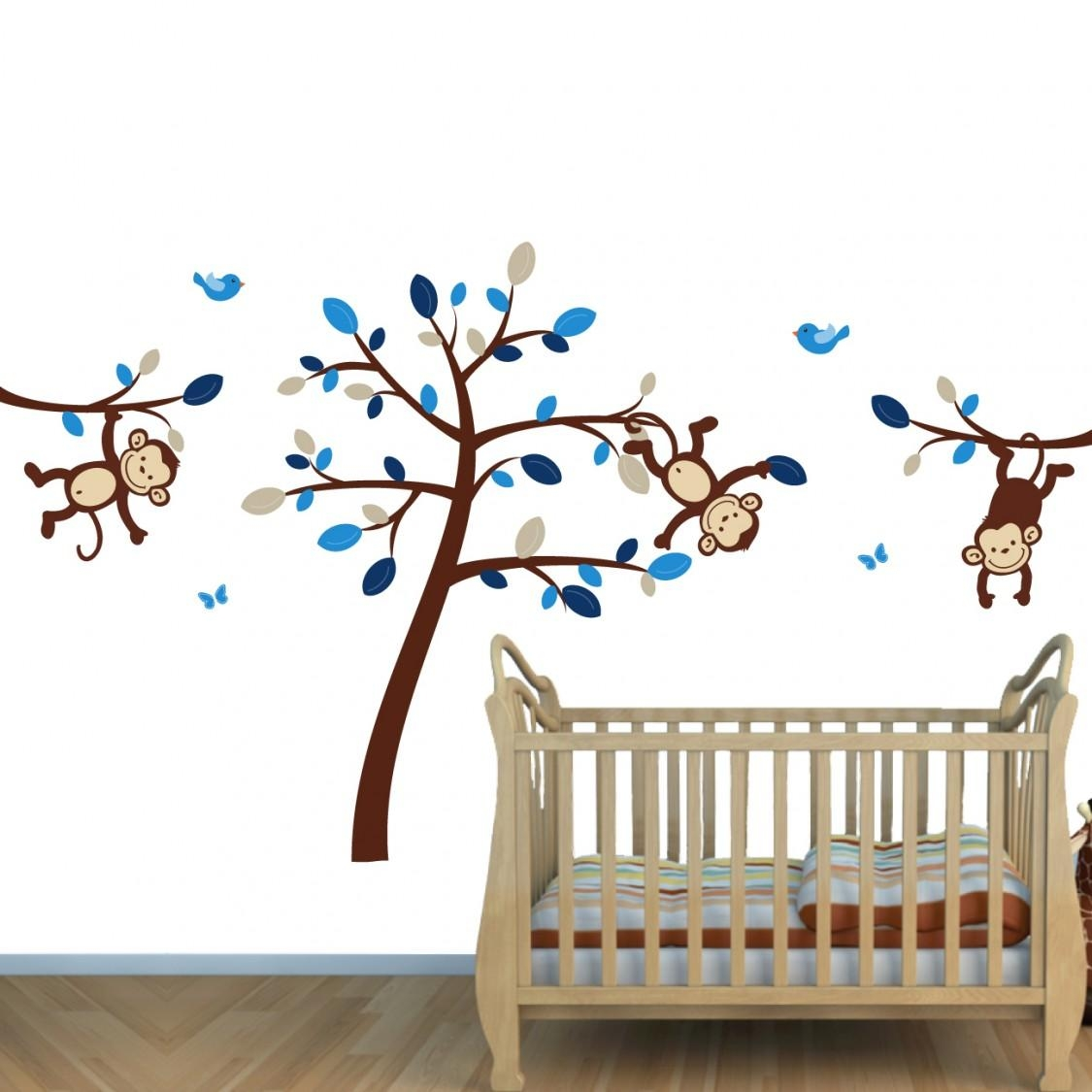 & Blue Jungle Murals For Kids & Monkey Wall Art For Boys Rooms Within Blue And Brown Wall Art (Image 1 of 20)