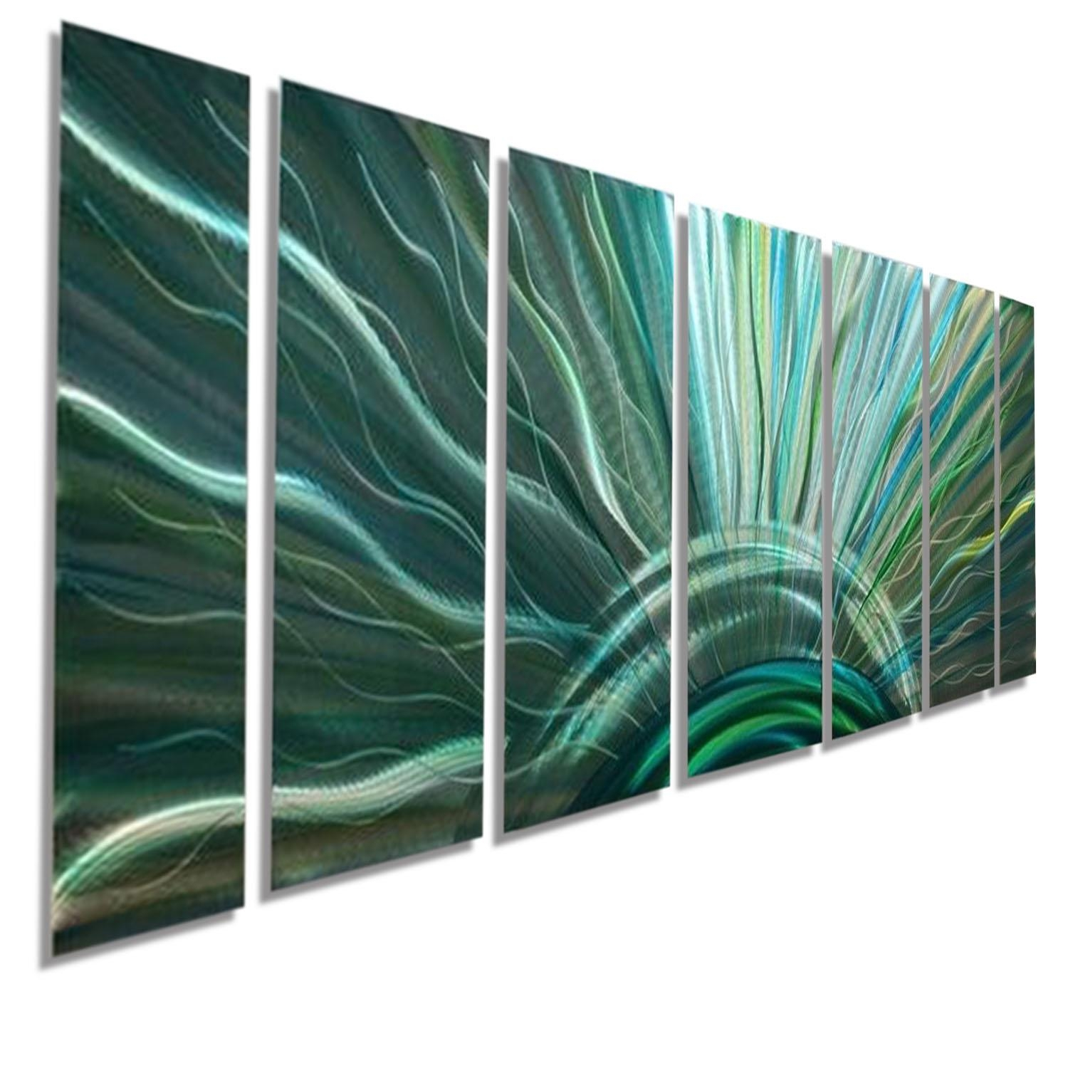 Blue Moon – Silver With Blue & Green Fusion Modern Metal Wall Art Inside Teal Metal Wall Art (Image 2 of 20)