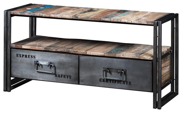 Boris Recycled Wood And Metal 2 Drawer Tv Unit – Industrial Within Latest Wood And Metal Tv Stands (Image 10 of 20)