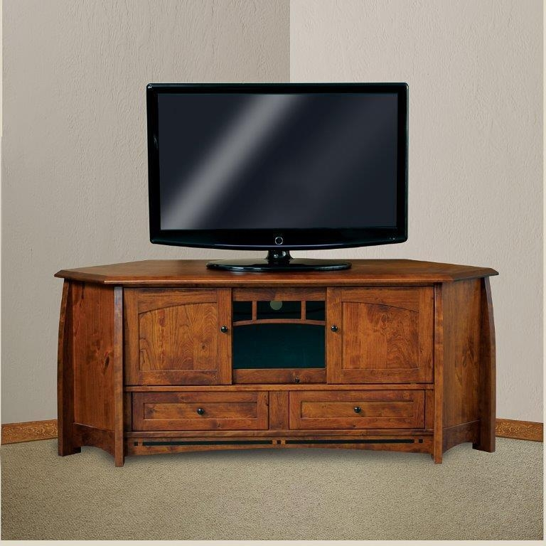 "Boulder Creek 69"" Mission Corner Tv Stand From Dutchcrafters Amish Inside Most Recent Corner Tv Stands With Drawers (Image 12 of 20)"