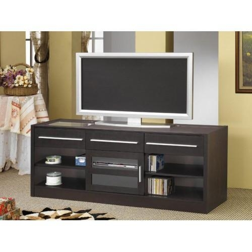 "Brand New Espresso Tv Stand Media Console 60"" Wide Sleek Modern Design Pertaining To 2018 Sleek Tv Stands (Image 10 of 20)"