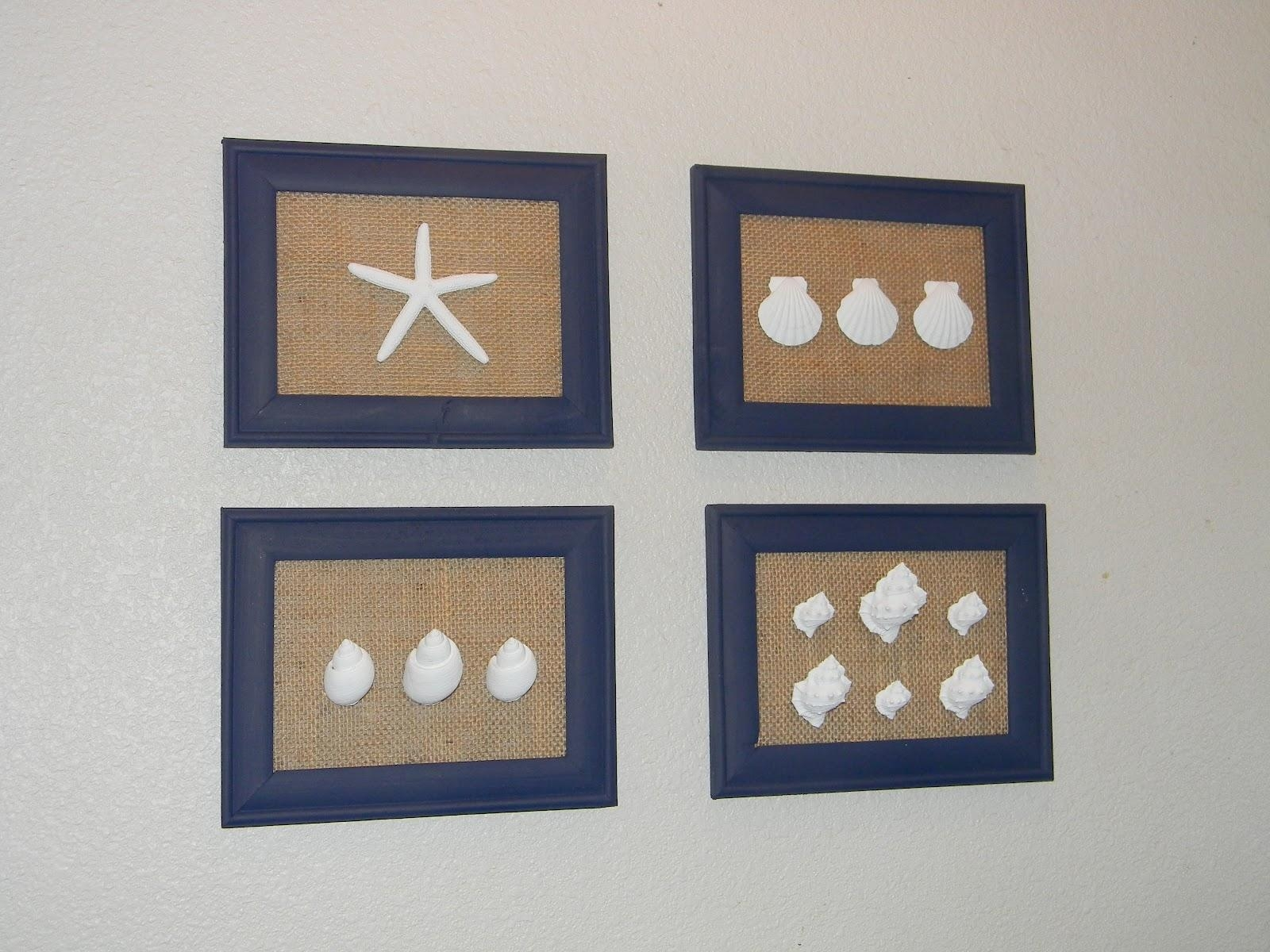 Brandy's Creations: Diy Sea Shell And Burlap Wall Art With Wall Art With Seashells (Image 9 of 20)