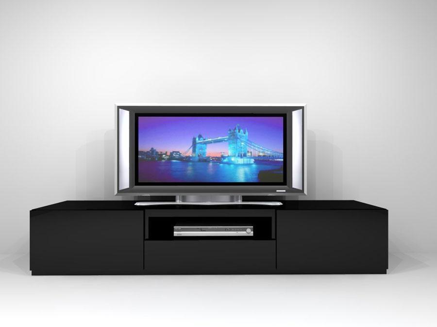 Brilliant Long Black Tv Unit Black Tv Stand | Dream Home Designer In Current Long Black Tv Stands (View 3 of 20)