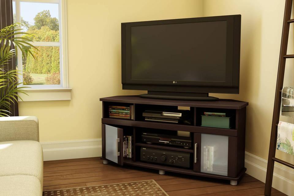 Brilliant Tv Corner Stand Tv Stands Elegant Black Corner Tv Stand With Most Recent Dark Brown Corner Tv Stands (Image 8 of 20)