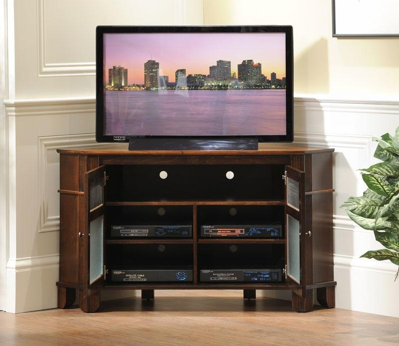 Brilliant Tv Stands With Cabinet Doors Plateau Newport Series Pertaining To Latest Corner Tv Cabinets With Glass Doors (Image 7 of 20)