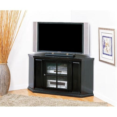 Brilliant Tv Stands With Cabinet Doors Plateau Newport Series Throughout 2018 Corner Tv Unit With Glass Doors (Image 7 of 20)