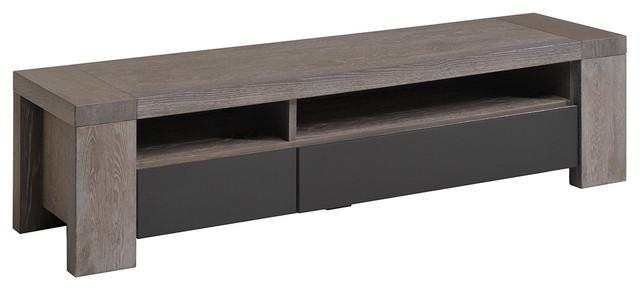 Bristol Gray French Oak Tv Stand – Contemporary – Entertainment Intended For Most Recent Grey Wood Tv Stands (View 5 of 20)