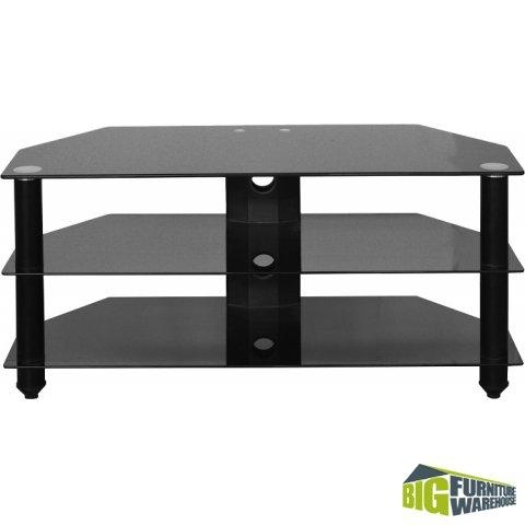 Bromley Black Glass Tv Stand | Big Furniture Warehouse With Current Black Glass Tv Stands (Image 11 of 20)