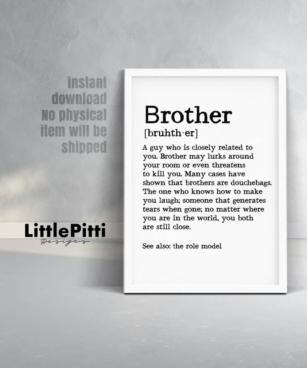 Brother Definition Brother Sign Brother Print Brother Pertaining To Brother Definition Wall Art (Image 10 of 20)