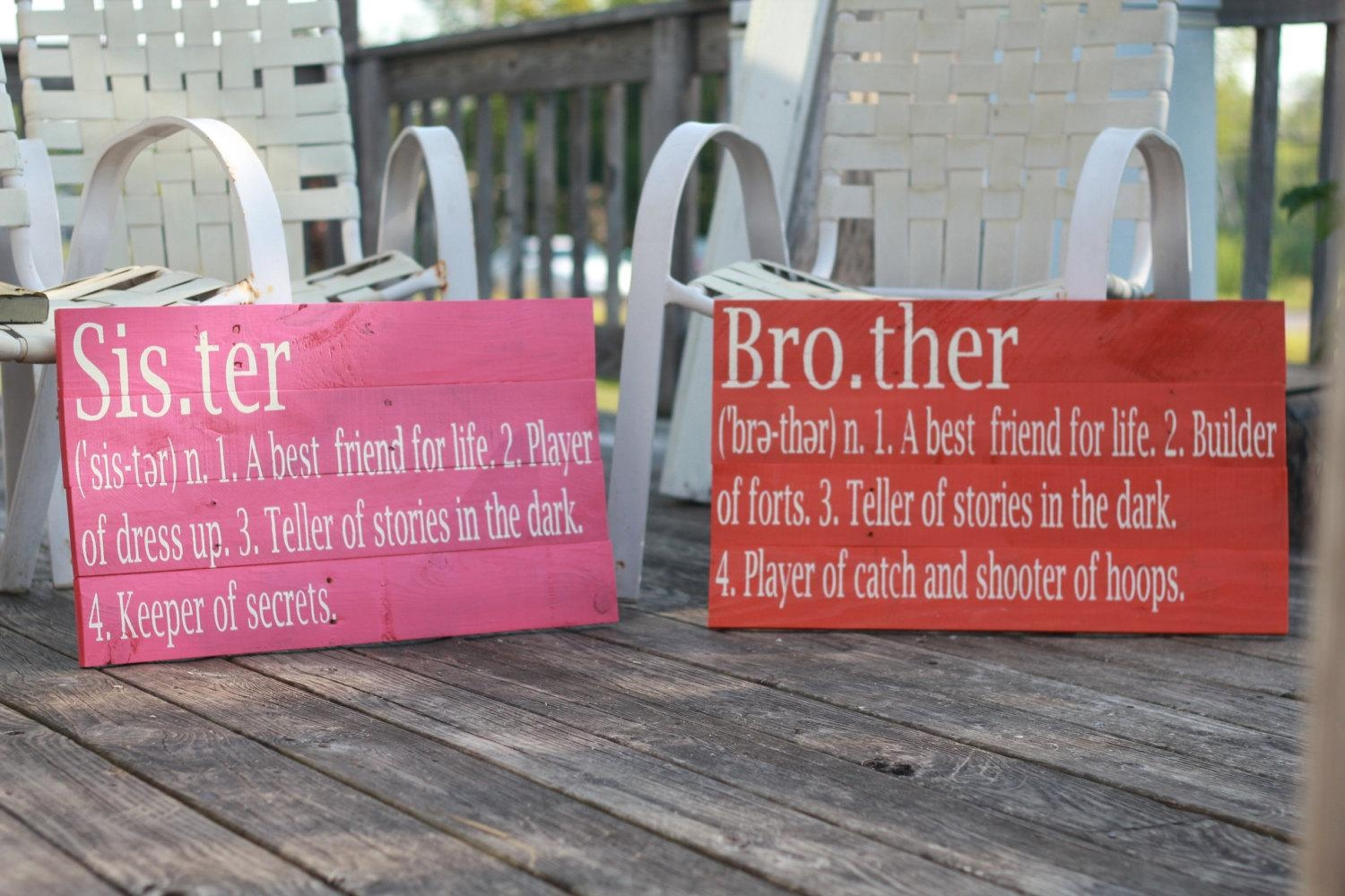 Brother Definition Sign, Reclaimed Wood Sign, Siblings Sign Throughout Brother Definition Wall Art (Image 13 of 20)