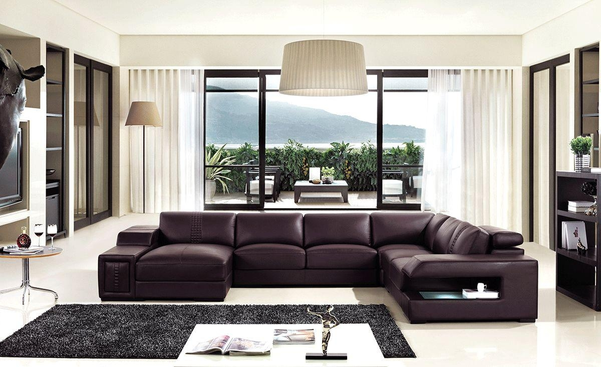 Brown Leather Sectional Sofa With Built In Coffee Table And Lights Within Sofas With Lights (Image 5 of 21)