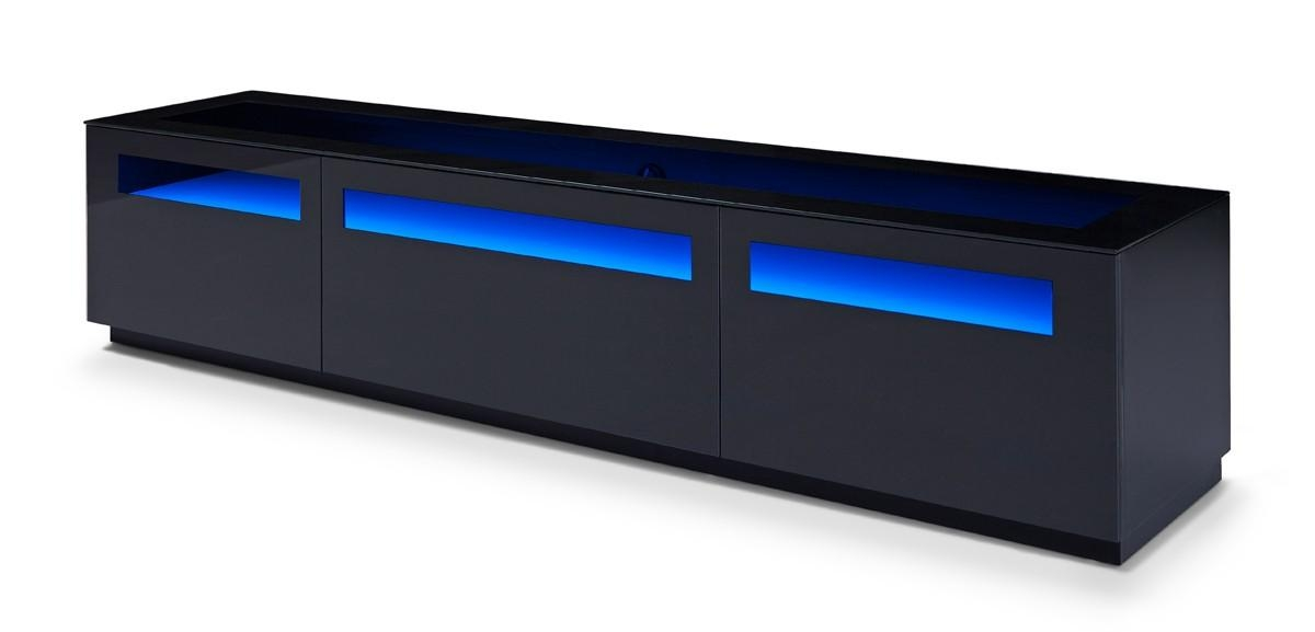 Brown Oak Blue Led Light And Glass Top Tv Stand Chicago Illinois With Recent Blue Tv Stands (Image 5 of 20)
