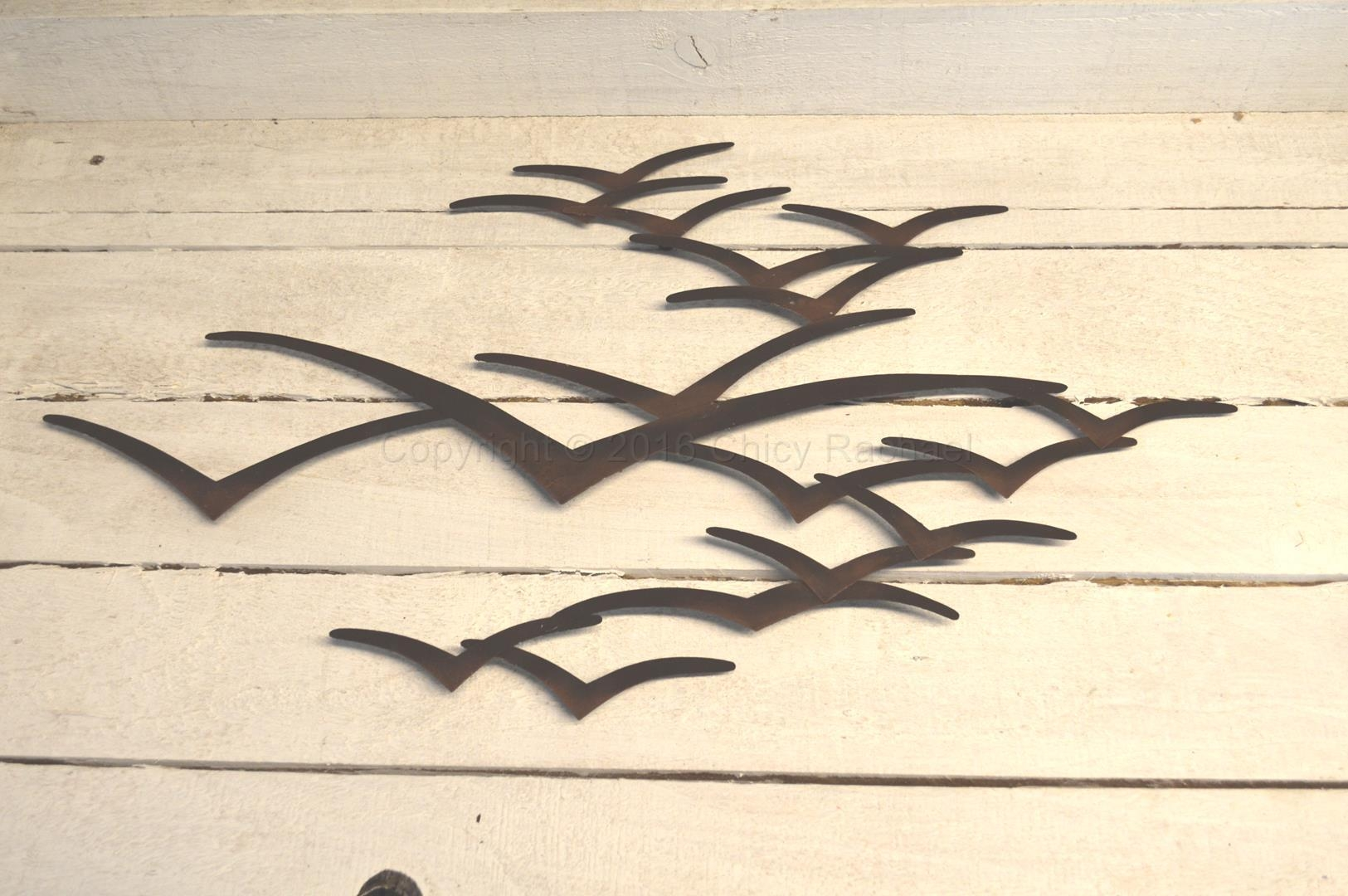 Brown Seagull In Flight Wall Art – Chicy Rachael Throughout Seagull Metal Wall Art (Image 2 of 20)