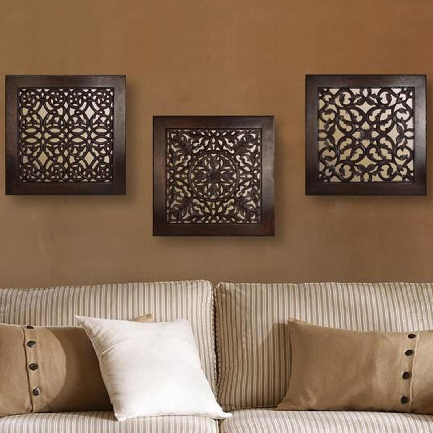 Brown Square Wall Art (Set Of 3) With Regard To Wall Art Sets Of  (Image 5 of 20)