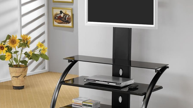 Buen Hogar Furniture | Black Metal Tempered Glass Tv Stand Within Best And Newest Glass Tv Stands (View 12 of 20)