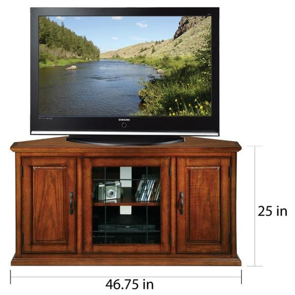 Burnished Oak 50 Inch Tv Stand And Media Corner Console – Free Inside Most Popular Corner Oak Tv Stands For Flat Screen (Image 9 of 20)