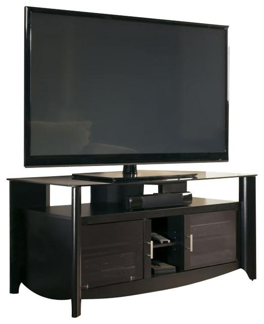 Bush Aero Tv Stand With Glass Top Shelf In Classic Black Finish Pertaining To Recent Wood Tv Stand With Glass Top (View 17 of 20)