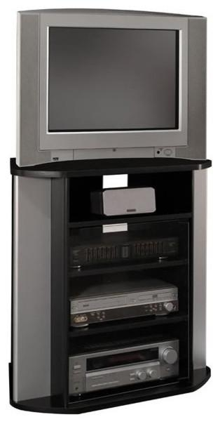 Bush Visions Corner Tv Stand In Black With Metal Silver Finish With Regard To Newest Black Wood Corner Tv Stands (View 11 of 20)