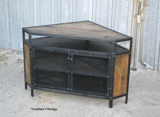 Buy A Custom Vintage Industrial Tv Stand – Corner Unit Media Pertaining To Most Up To Date Industrial Corner Tv Stands (Image 8 of 20)