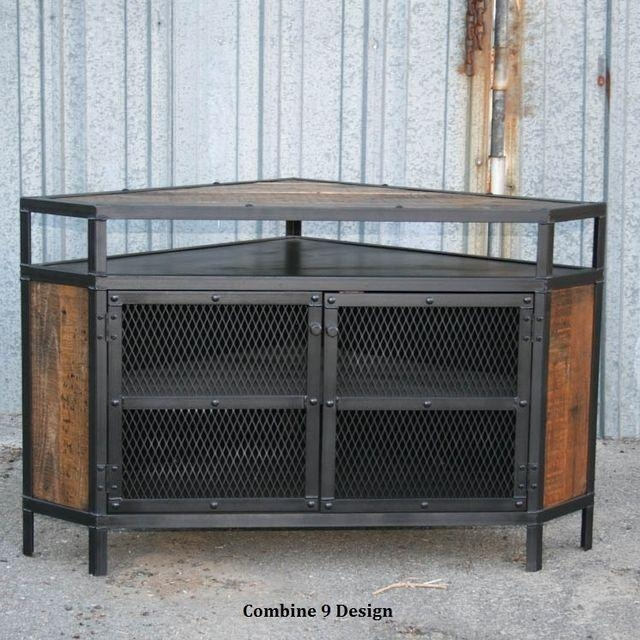 Buy A Custom Vintage Industrial Tv Stand – Corner Unit Media With Recent Industrial Corner Tv Stands (Image 9 of 20)